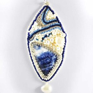 Sodalite Pendant Bead Embroidery