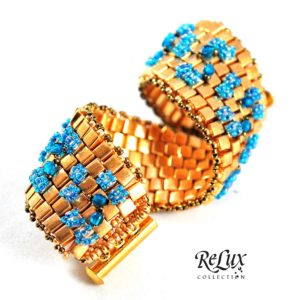Aqua Gold Beacelet Beaded - Relux Collection