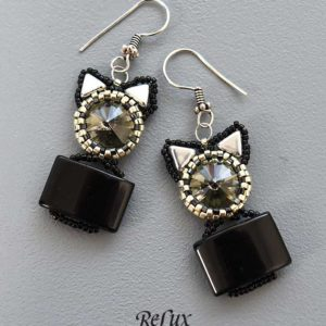 "Earrings ""Cat-In_A_Box"""