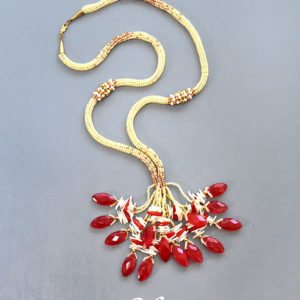 Long Necklace Love Strikes -red jade, corals, beads.